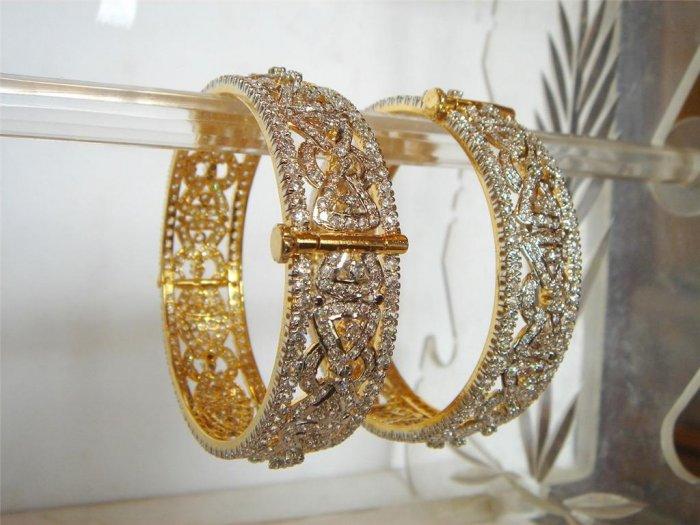 fine cz India Handmade twotone necklace earing jewelery