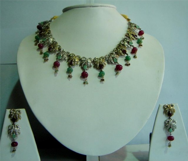Handmade Magenta CZ studded Twotone Choker Necklace set