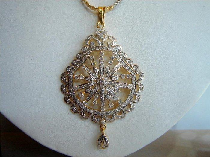 magenta matching twotone cz handmade necklace set