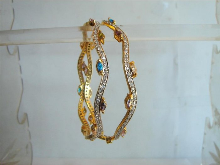multicolour cz studded gold plated necklace earing set