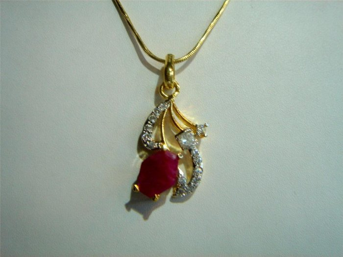 cz ruby emerald Necklace earing jewelery antique style