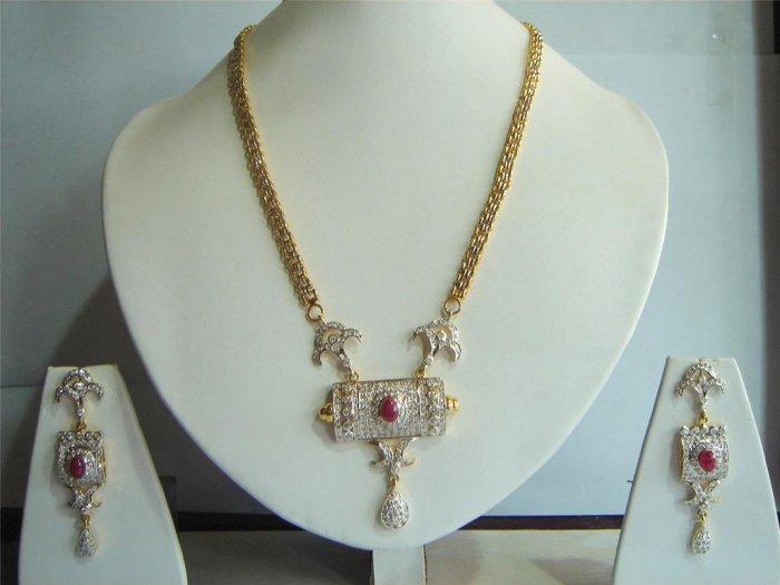cz Handmade rhodium Mangalsutra Pendant jewelery set