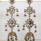 indian designer handmade twotone cz pendant earing jewelery set