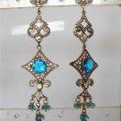 indian blue enamel meena twotone cz pendant earing jewelery set