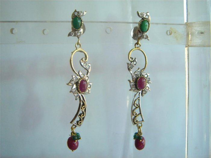 natural ruby emerald twotone cz pendant earing jewelery set