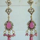 magenta matching twotone pendant earing cz jewelery set