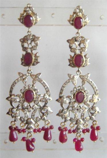 solitaire ruby & cz twotone pendant earing chain set