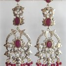 solitaire ruby & cz twotone pendant earing chain set