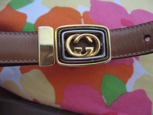 """Gucci Italy Tan  leather belt Gold tone G buckle 30.5"""" - 32.5"""""""