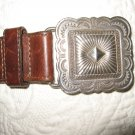 Brighton brown leather belt M silver  tone buckle & studs