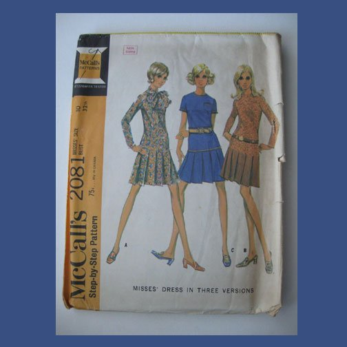 McCall's Vintage Sewing Pattern, #2081, Size 10, 1969, Dress in Three Versions