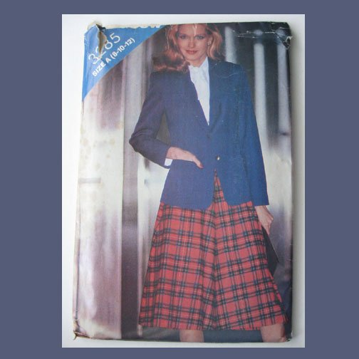 Butterick Vintage Sewing Pattern, #3285, Size A (8-10-12), See & Sew, Misses Jacket & Skirt