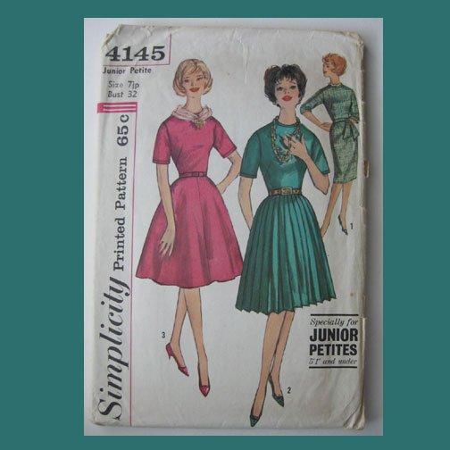 Simplicity Vintage Sewing Pattern, #4145, Size 7jp, J-P's One-piece Dress,3 Skirt versions