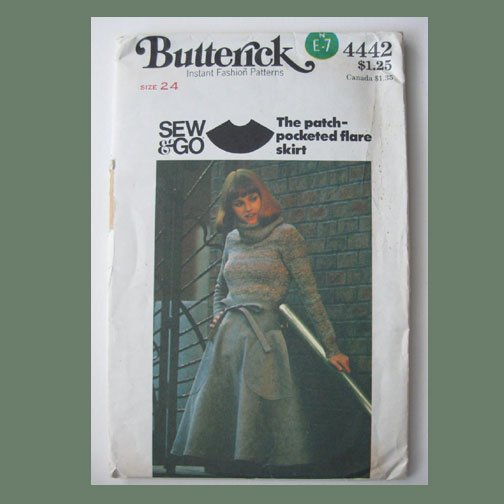 Butterick Vintage Sewing Pattern, #4442, Size 24 waist, Misses' Flare Skirt