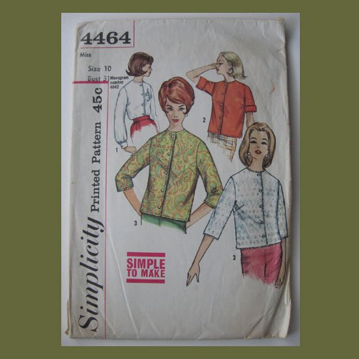 Simplicity Vintage Sewing Pattern, #4464, Size 10, Misses Blouse, Simple to Make