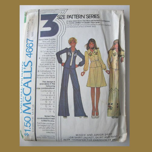 McCall's Vintage Sewing Pattern, #4667, Size S (7-9-11), 1975, Junior Shirt,Jacket,Skirt & Pants