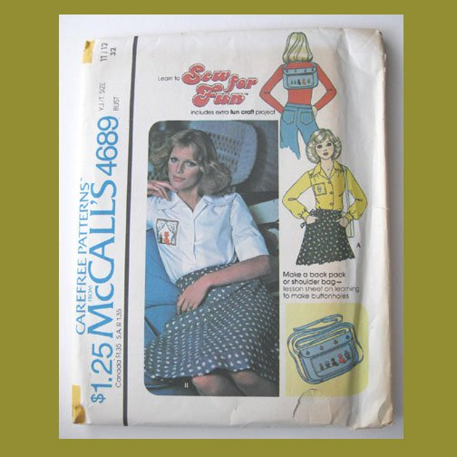 McCall's Vintage Sewing Pattern, #4689, Size 11/12, 1975,Blouse with Backpack or Shoulder bag