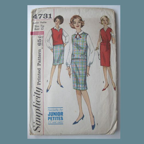 Simplicity Vintage Sewing Pattern, #4731, Size 7 jp, JP's Top, Skirt & Blouse