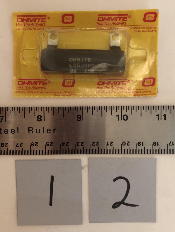 Ohmite L25J3R0 3 Ohms 25 Watts Wirewound Ceramic Power Resistor Qty. 1
