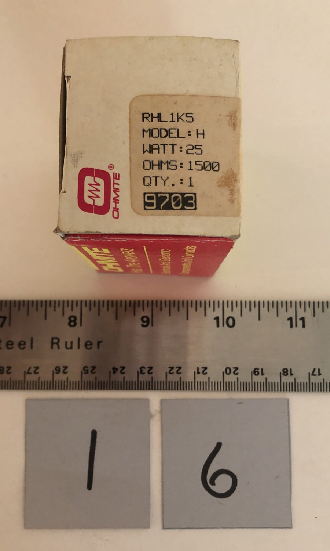 Ohmite Rheostat 25W 1.5K Ohm Wirewound Potentiometer RHL1K5 Qty 1
