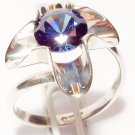 HANDMADE STERLING SILVER .925 FLOWER RING WITH SAPPHIRE CZ STONE