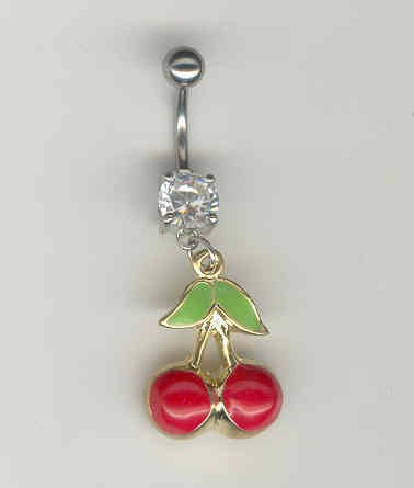 14 GAUGE CLEAR CZ PRONG CHERRY BELLY NAVEL RING BODY JEWELRY #11