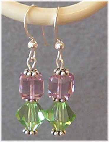 Green Cubes & Pink Bicones Swarovski Crystal Earrings with Sterling Silver