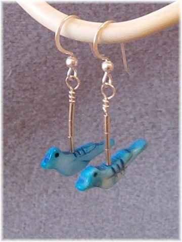 "Dyed Shell Blue Bird & Sterling ""Liquid"" Silver Earrings"