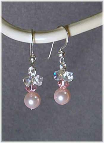 Pink Innocence - Swarovski Crystal Pearls Pink Earrings