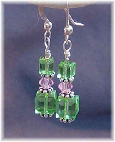 Green & Pink Swarovski Crystal & Sterling Silver Earrings