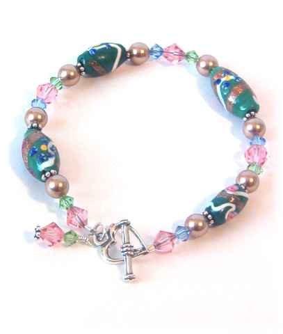 Green & Pink Vintage Venetian Glass & Swarovski Crystal Bracelet