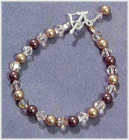 Swarovski Pearl & Crystal Bracelet - Champagne Taupe