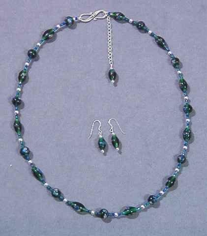 Adjustable Green & Blue Necklace & Earrings Set - Lampwork & Silver