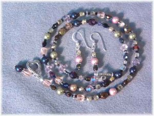 Collage Necklace - Swarovski Crystals & Crystal Pearls, Czech Glass, Sterling Silver - Neutrals