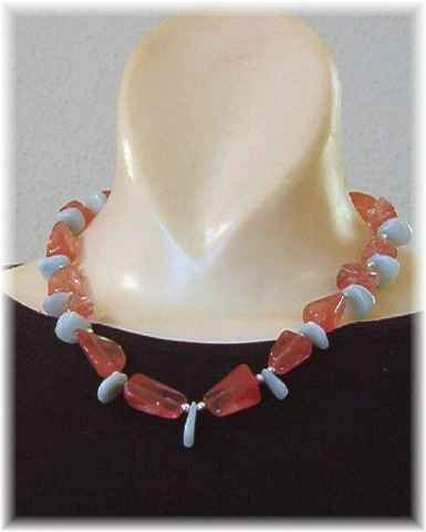 Cherry Quartz - Amazonite - Sterling Silver Necklace