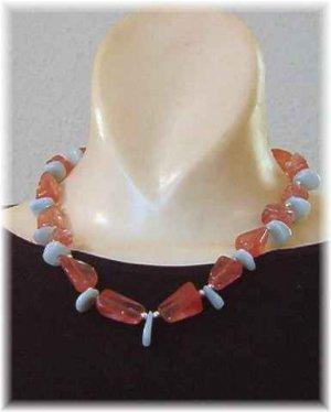 Cherry Quartz - Amazonite - Sterling Silver Necklace