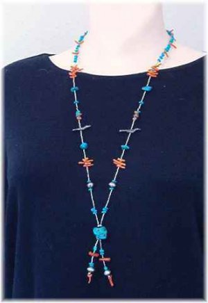 Turquoise Coral & Sterling Silver Necklace Lariat Style