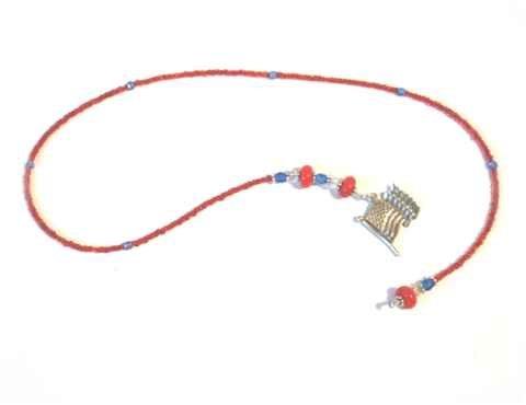 Patriotic Beaded Bookmark - Red White & Blue