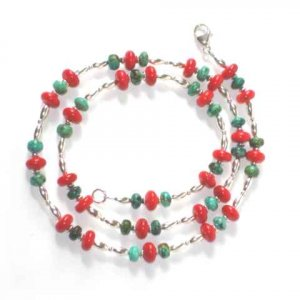 Coral, Turquoise & Sterling Silver Necklace