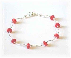 Coral  & Wavy Sterling Silver Bracelet or Anklet