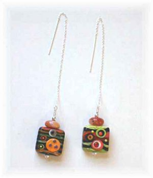 Orange & Green Lampwork Ear Threaders