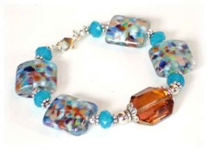 Carnivale Glass Bracelet with Swarovski Crystals
