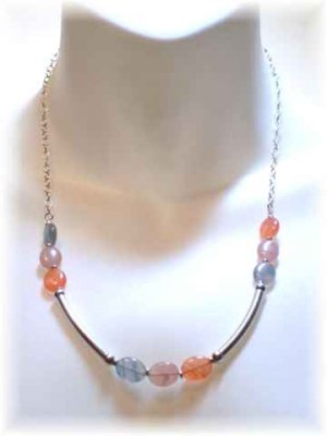 Blue & Peach Czech Glass & Sterling Silver Necklace