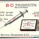 1925 B D Products Ad/Calendar Mini Desk Blotter (Becton, Dickinson)