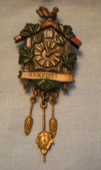 WW I Era Franfurt Plastic Cuckoo Clock Souvenir Pin