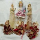 6 Vintage Victorian Porcelain Doll and Angel Ornaments