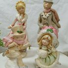 Vintage Victorian Dickens Style Ice Skaters Ceramic Christmas Figurines