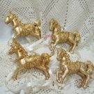 Vintage Lot Of 4 - oops 3 Different Victorian Horse Ornaments