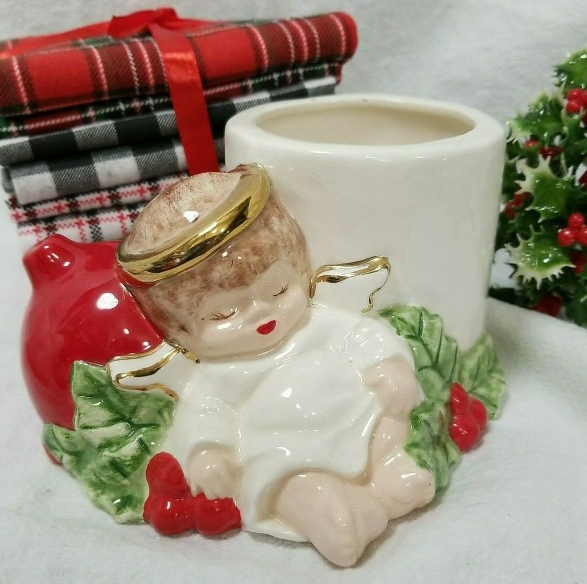 Vintage Christmas Ceramic Sleeping Angel Planter