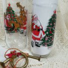 8 Vintage Santa Drinking Glasses - Luminarc